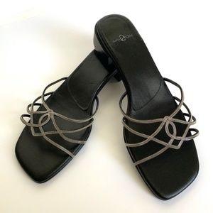 ANNE KLEIN 2 Goddess Sandals w/ Silver Chain